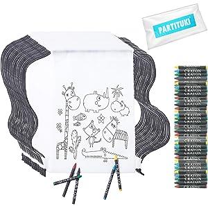 Partituki 10 Mochilas Infantiles para Colorear. Cada Una Incluye 5 Ceras de Colores. Ideal