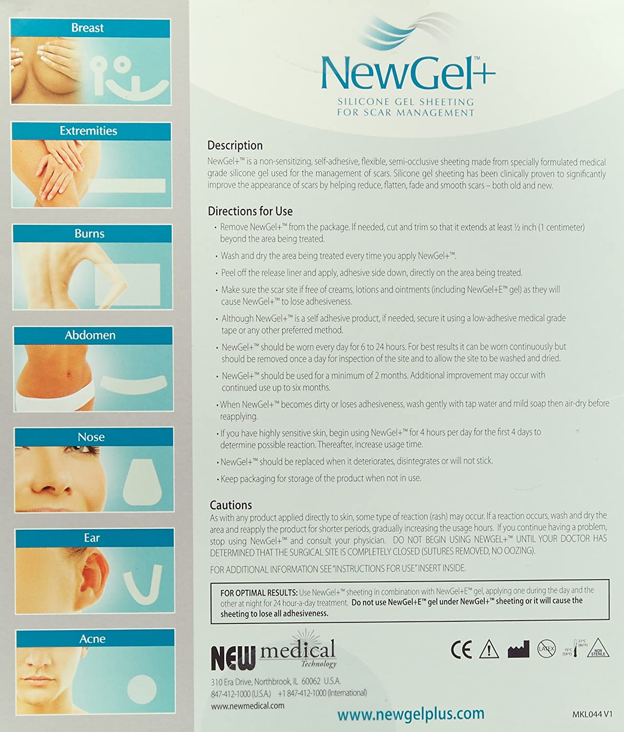 Amazon Com Newgel Silicone Gel Strips For Scar Managment 1 X 6