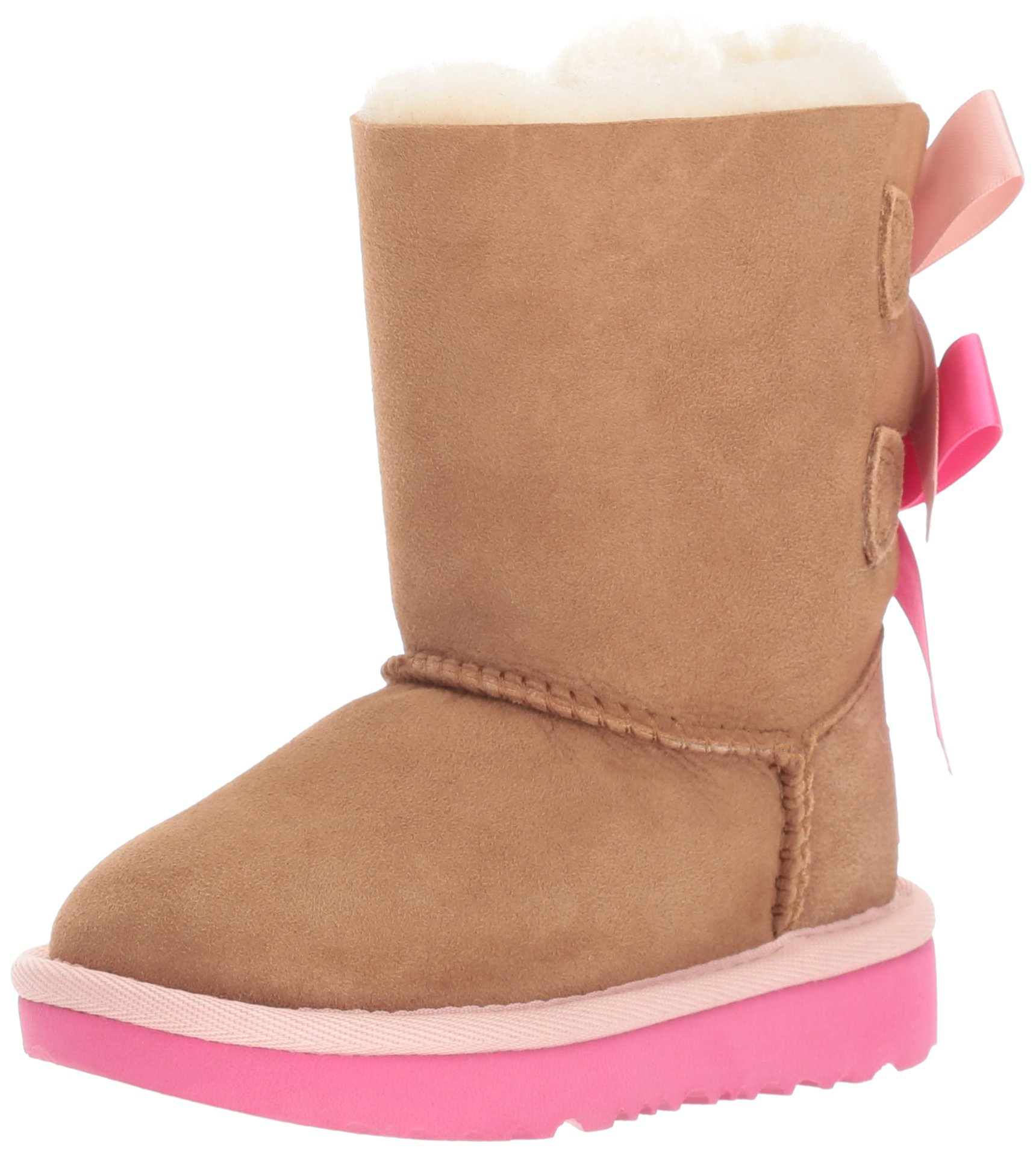 UGG Girls T Bailey Bow II Pull-On Boot, Chestnut/Pink Azalea, 12 M US Little Kid