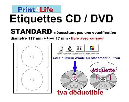 50 de hoja de 2 etiquetas de CD/DVD etiquetas Adhesivos adhesivo diámetro 117 mm Hojas de impresora láser y de inyección de tinta