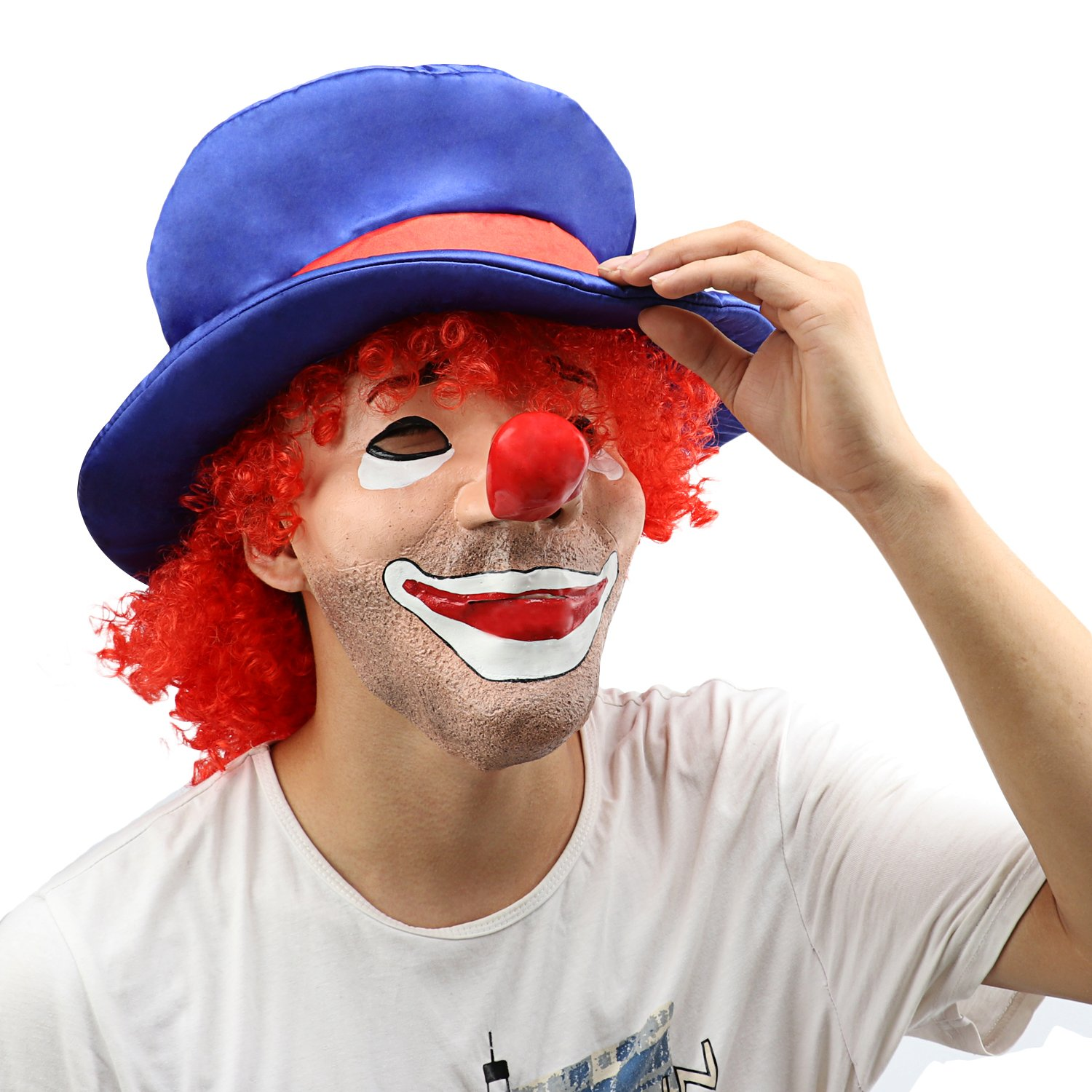 XIAO MO GU Latex Halloween Costume Mask Scary Clown Mask Red Hair Clown Halloween Decorations Masquerade Party