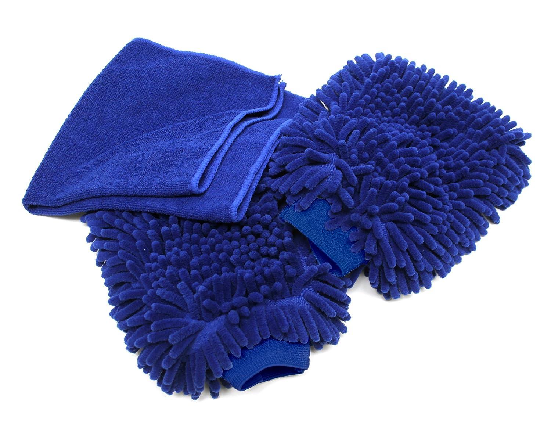 Premium Car Wash Mitt - 2-Pack - Free Polishing Cloth, High Density, Ultra-soft Microfiber Wash Glove, Lint Free, Scratch Free - Use Wet or Dry,