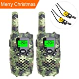 E-wor Walkie Talkies For Kids ,22 Channels FRS/GMRS UHF Kids Walkie Talkies, 2 Way Radios 4 Miles Walkie Talkies Kids Toys With Flashlight, 1 Pair,Camo Green