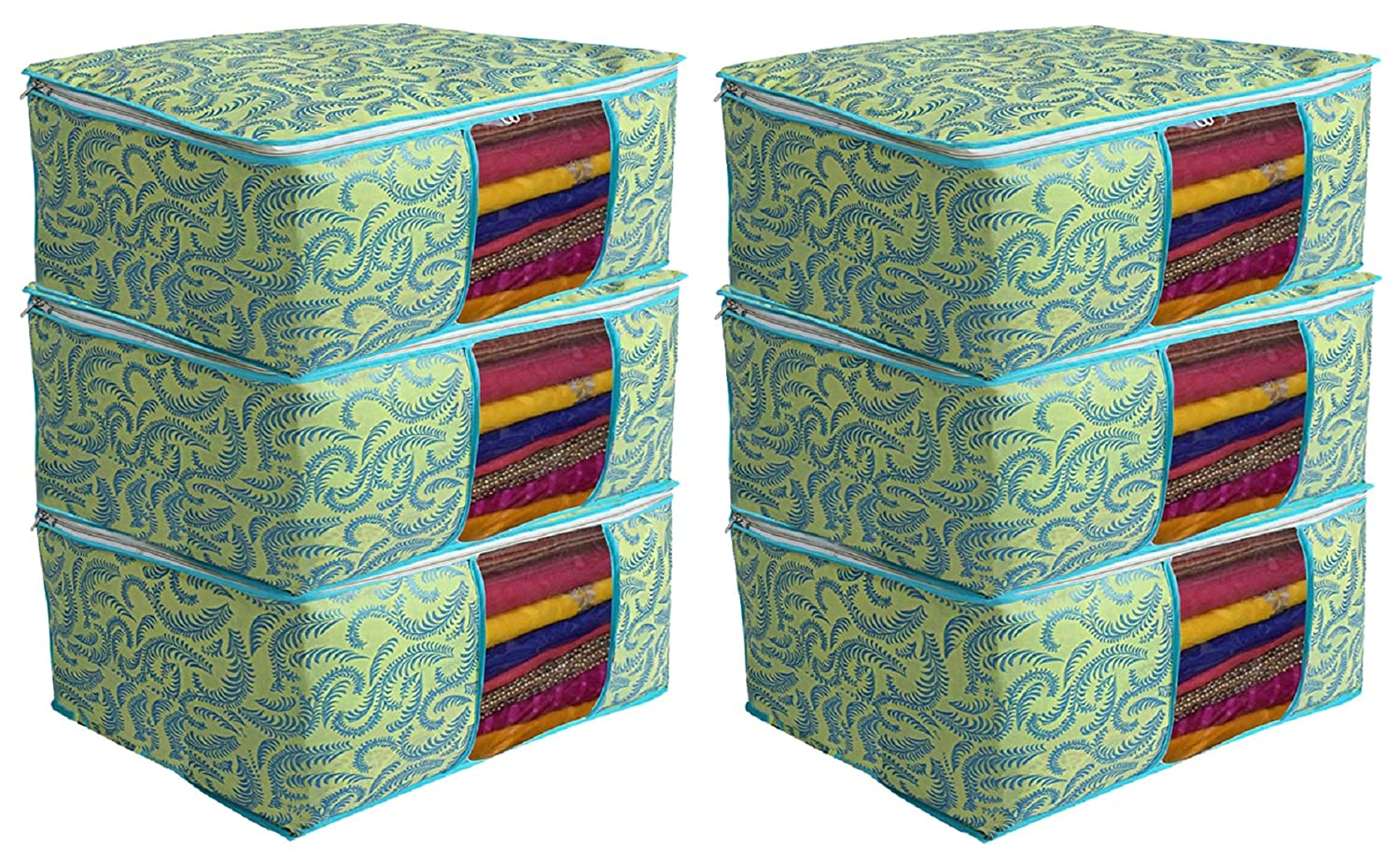 Kuber Industries Metalic Print 6 Piece Non Woven Saree Cover