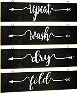 4 Pieces Farmhouse Laundry Room Decor Rustic Wall Art Home Decoration, Wash Dry Fold Repeat, Farmhouse Laundry Room Wall Decor Set for Laundry Room, Bathroom and Home