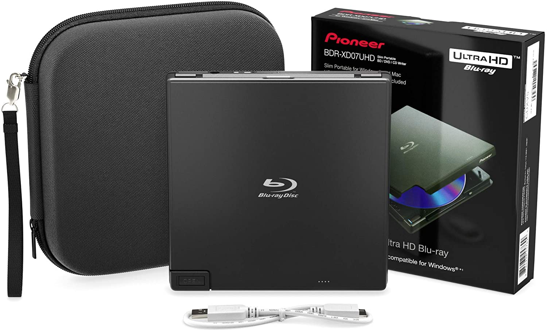 Pioneer BDR-XD07UHD 4K Blu-Ray Portable Burner & DVD Player - 6X Slim External BDXL, BD, DVD & CD Drive for Windows & Mac w/ 3.0 USB, CD Player, Write & Read on Laptop or Desktop w/Carry Case (Black)