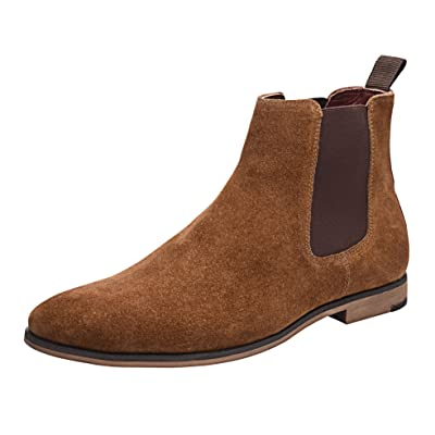 Allonsi Berdine Formal Genuine Suede Leather Chelsea Boots Men's with Rubber Sole and Low Heel   Chelsea