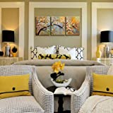 """Canvas Wall Art Pictures Decor Ready to Hang Floral Picture Home Decorations for Living Room """"Exquisite Yellow plum"""" 3 piece Artwork for walls Framed"""