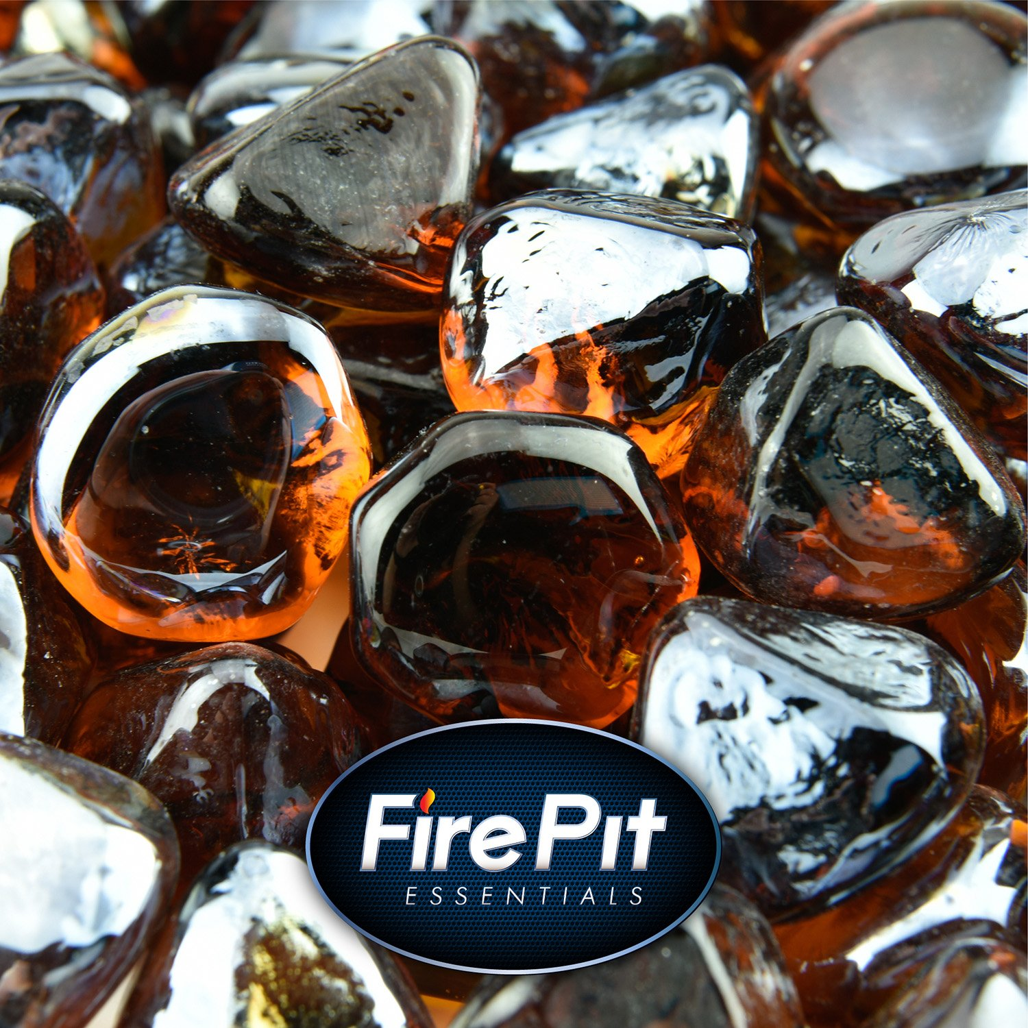 Amber Fire Glass for Indoor and Outdoor Fire Pits or Fireplaces | 10 Pounds | Cowboy Brown, Fire Glass Diamonds, 1 Inch
