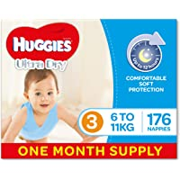 Huggies Ultra Dry Nappies, Boys, Size 3 Crawler (6-11kg), 176 Count, One-Month Supply, Packaging May Vary