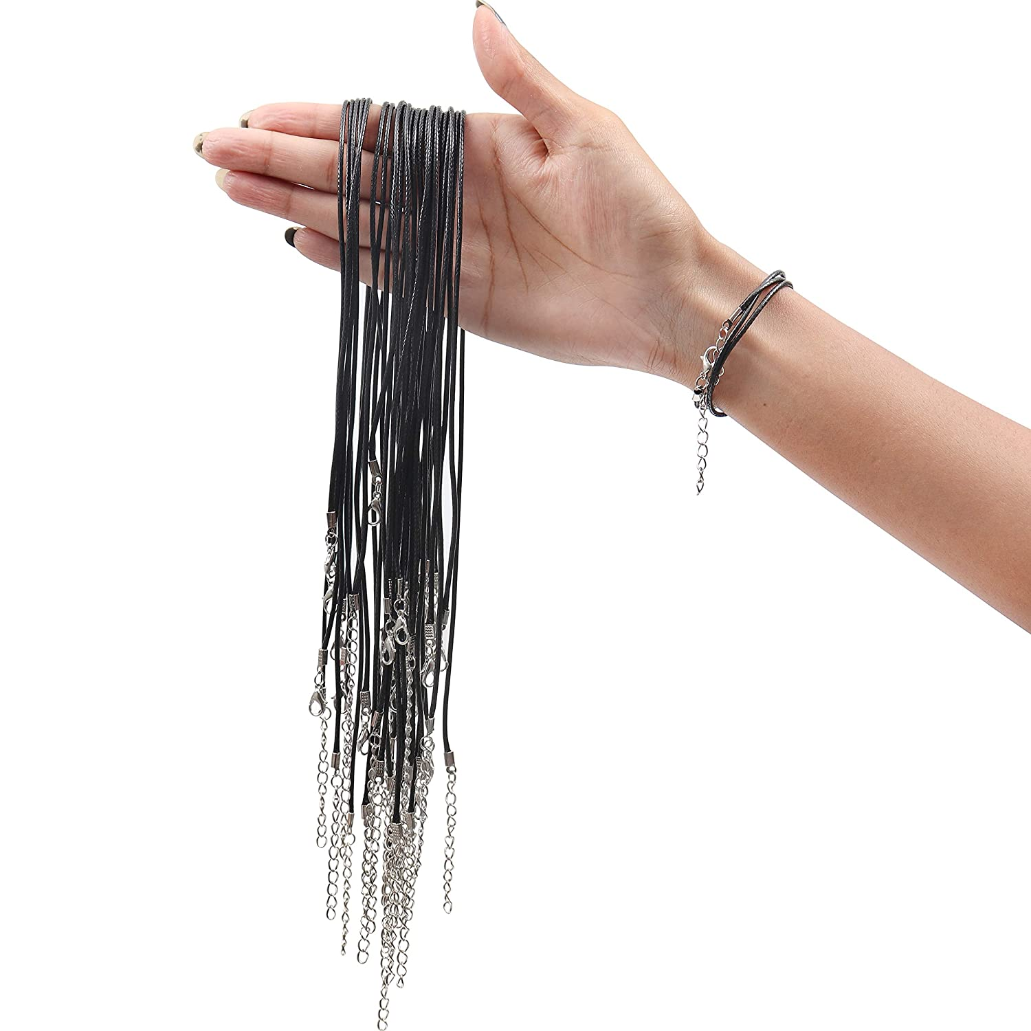 Jewellery Cord 18 and 2mm Thin Black Cord for Jewellery Making Choker Necklace Cord Necklaces 50 pcs Pendant - Nylon Cord with Extension Chain and Lobster Clasp
