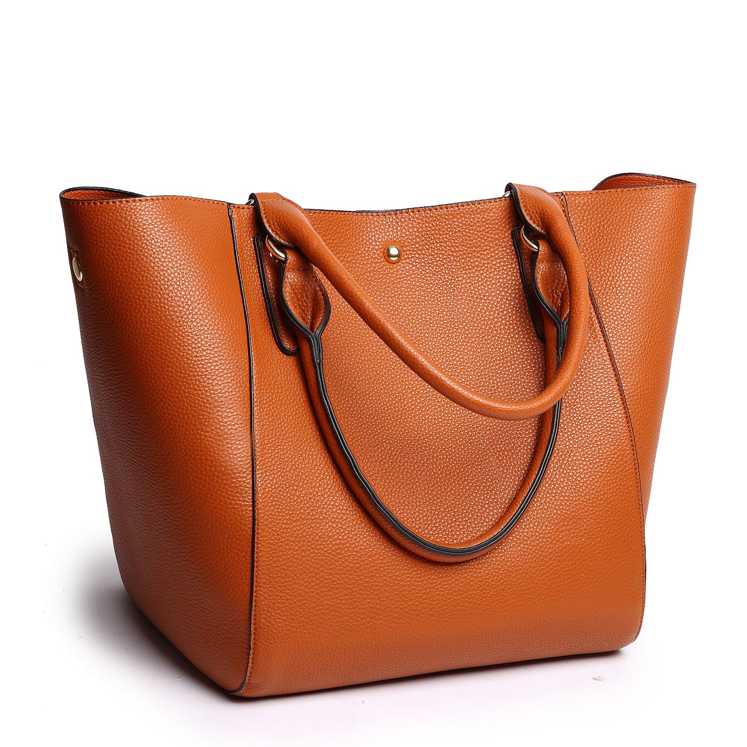 Tibes Large Women Top-Handle Handbag Pu Leather Tote Bag Satchel Brown by TIBES