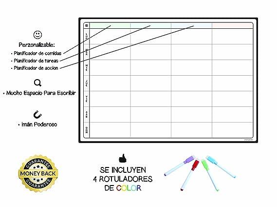Pizarra Planificadora de Comidas y de Planes por SmartPanda - Calendario Magnético Grande Ideal para Planificar Estudios, Tareas o Dietas - Pizarra ...