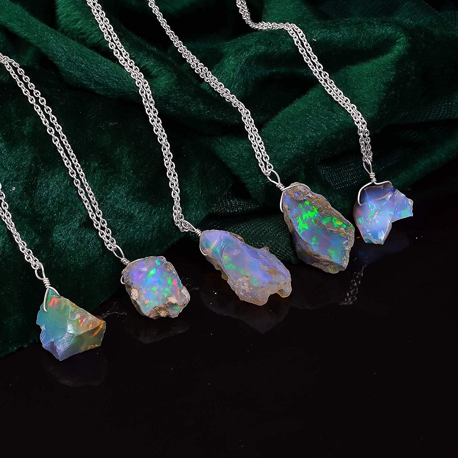 Necklaces for Women in Rhodium Plated 925 Sterling Silver 18 inch Rough Crystals Fire Opal AA+ Genuine Raw Ethiopian Opal Gemstone Dainty Necklace Healing Stones October Birthstone