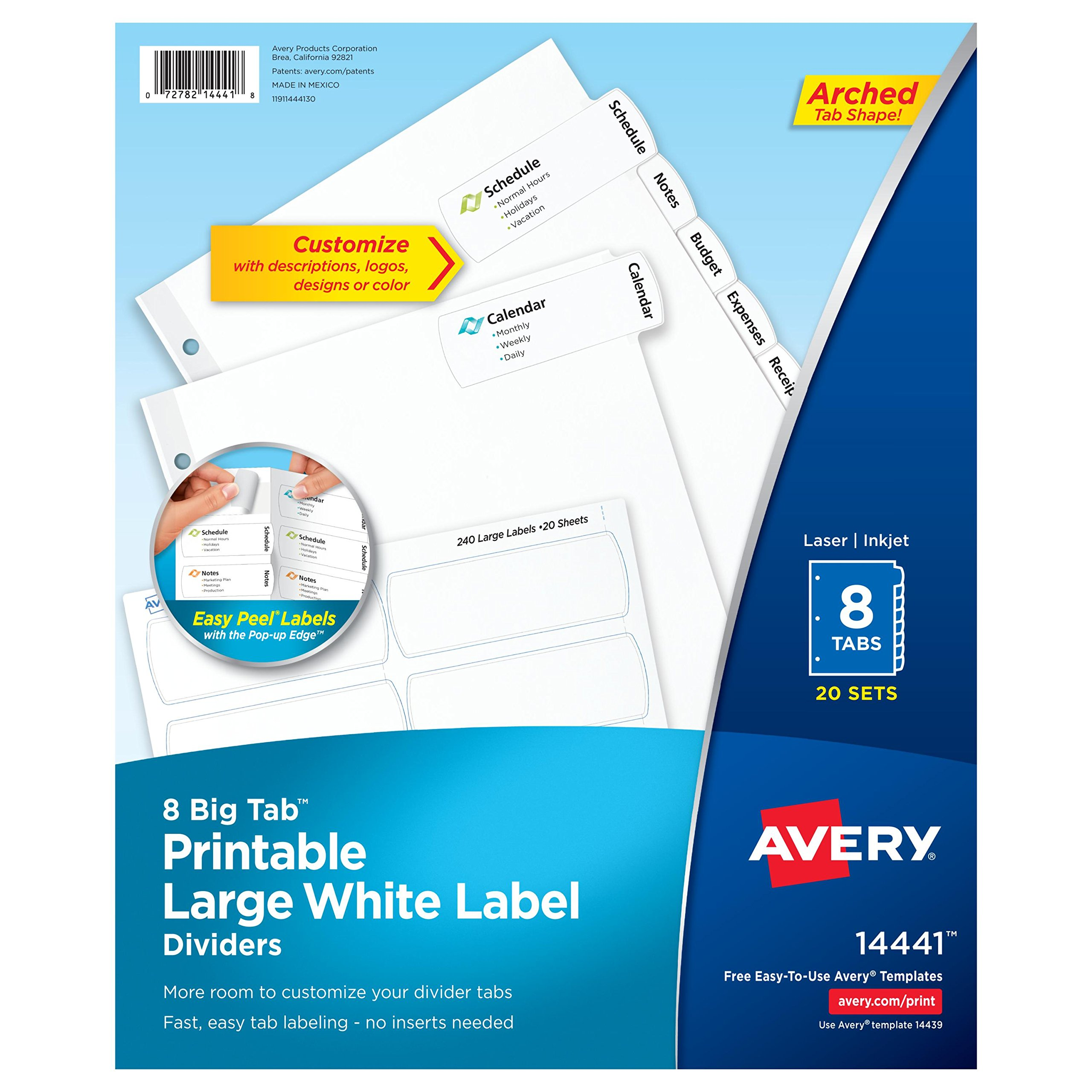Avery Big Tab Printable Large White Label Dividers with Easy Peel, 8 Tabs, 20 Sets (14441)