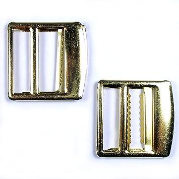 Metal Waistcoat Vest Buckle Slider Fastener Gold Colour 2.5cm x 2cm Pack of 2