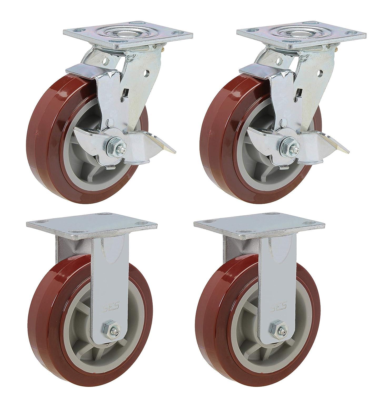 "4 Pack 8/"" Heavy Duty Caster Wheel Non Swivel Plate Maroon PU Rigid Fixed Wheels"