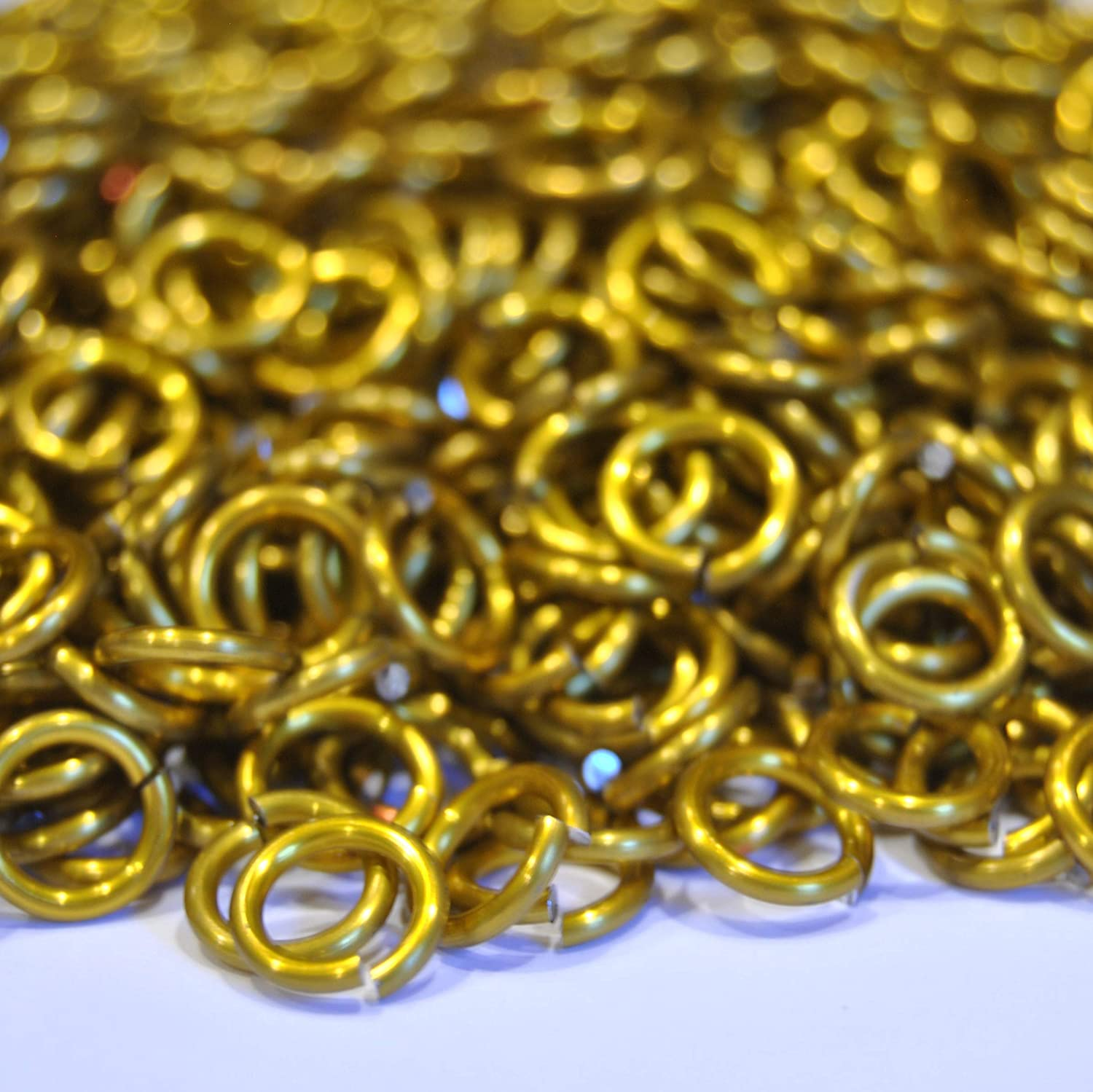 """300+ Rings Yellow Saw Cut Chainmail Jump Rings .062/"""" 1//4/"""" ID 14g AWG"""