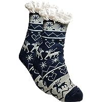BfL 1 Paar Kuschelsocken, Hausschuhsocken mit Rutschfester ABS Sohle | warme Damen Socken | Wintersocken, Hüttensocken mit Anti Rutsch Noppen und Teddyfell |