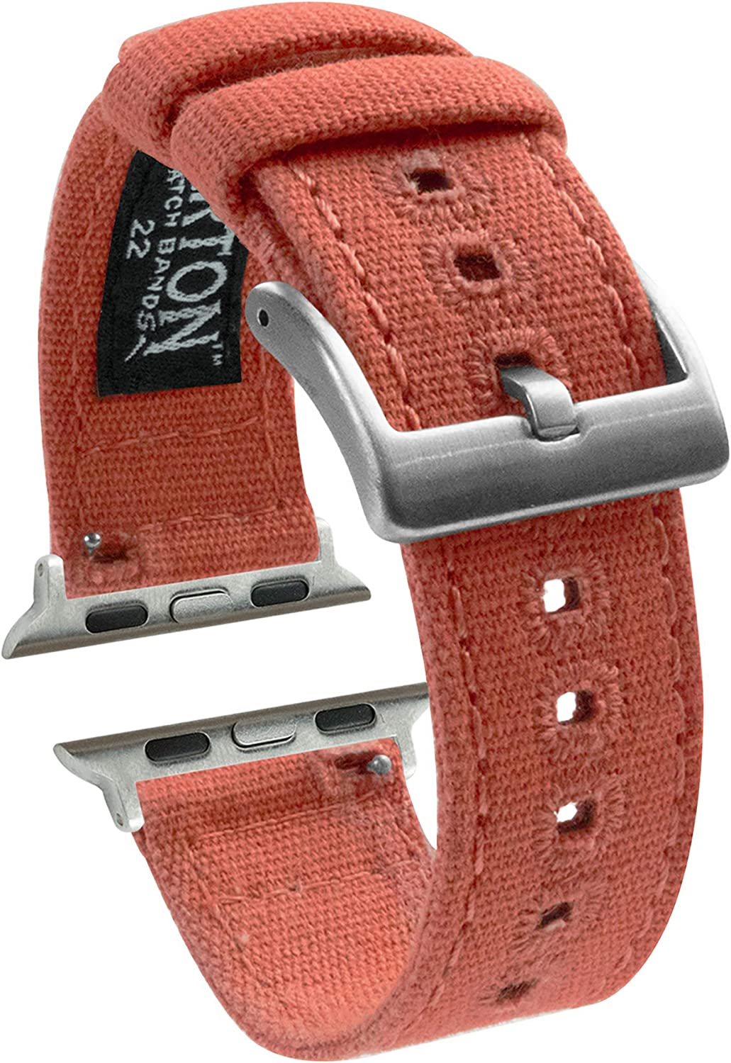 Barton Canvas Watch Bands - Stainless Steel Hardware - Quick Release - Choose Color - Compatible with All Apple Watches Series 1, 2, 3, 4, & 5-38mm/40mm & 42mm/44mm