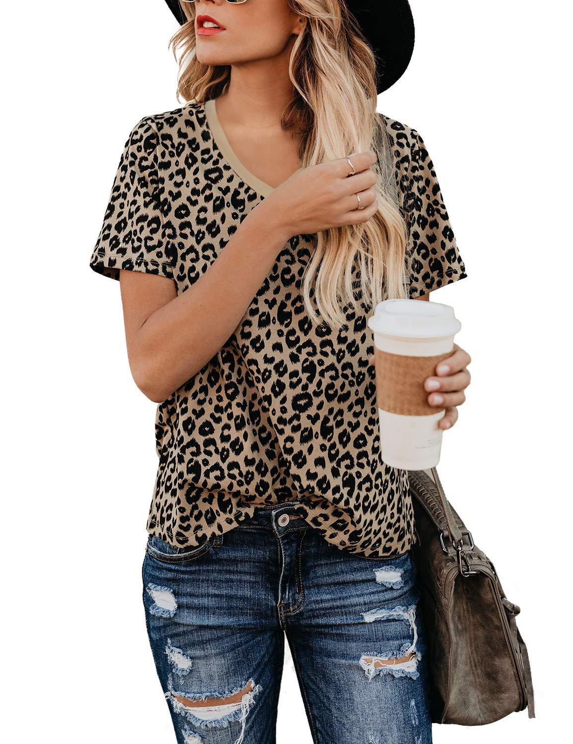 Youdiao Women's Casual V Neck Leopard Print Tops Summer Cute Shirts Basic Short Sleeve Tees Blouse Coffee M by Youdiao