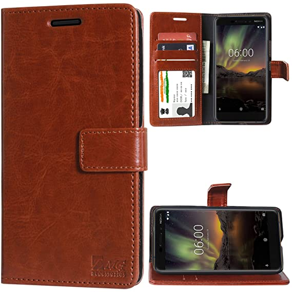 buy popular f5311 5ca71 DMG Leather Flip Cover for Nokia 6.1, Wallet Flip Book Cover Stand Case for  Nokia 6 (2018) (Leather ID Brown)