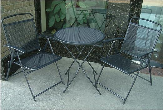 Conjunto de muebles de patio, mesa y sillas Conjunto de hierro forjado Cafe para exterior metal: Amazon.es: Jardín
