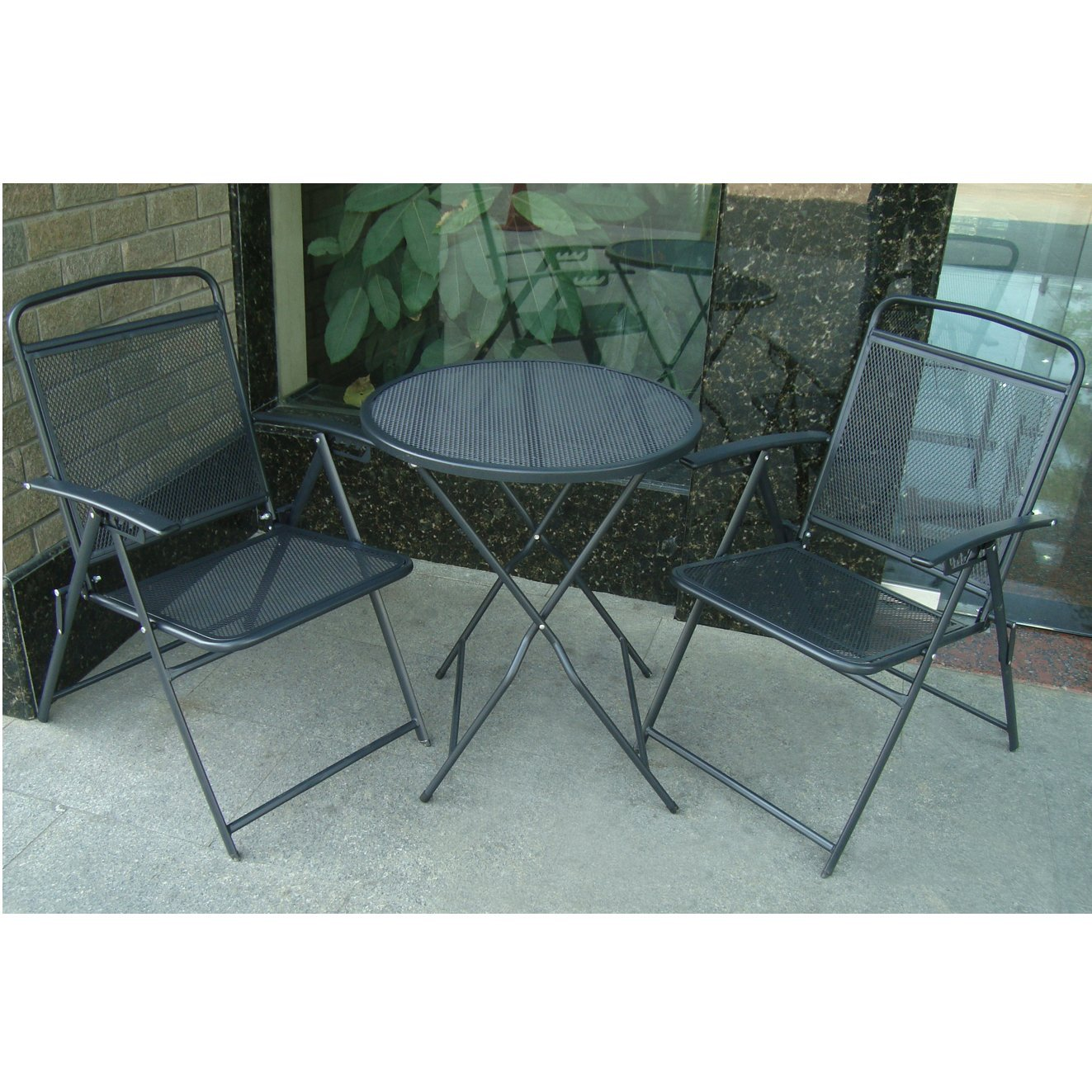 BenefitUSA S-405-BLACK Patio Table and Chair Set, Black