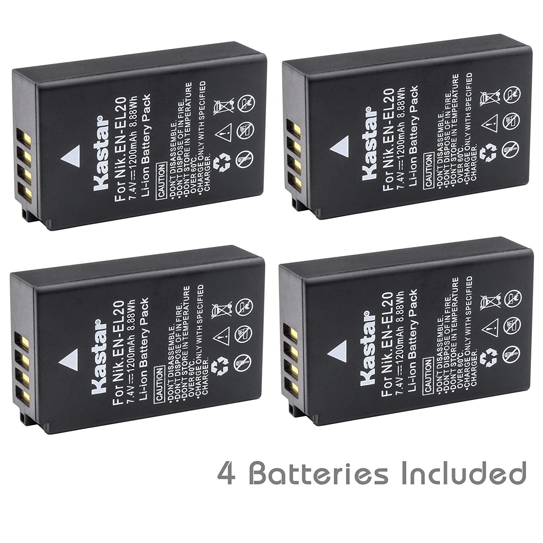 Kastar Battery ( 4 - Pack ) for Nikon en-el20、Nikon en-el20 aで作業Nikon Coolpix A、Nikon 1 aw1 , Nikon 1 j1 , Nikon 1 j2 , Nikon 1 j3 , Nikon 1 s1 , Nikon 1 V3、およびBlackmagic Pocket Cinema Camera   B00XGX3J8S