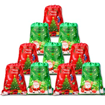 HOWAF 10pcs Grandes Bolsas Mochilas Bolsas de cumpleaños con cordón para niños Regalo Fiestas Infantiles Navidad cumpleaños Caramelos Dulces Galletas ...