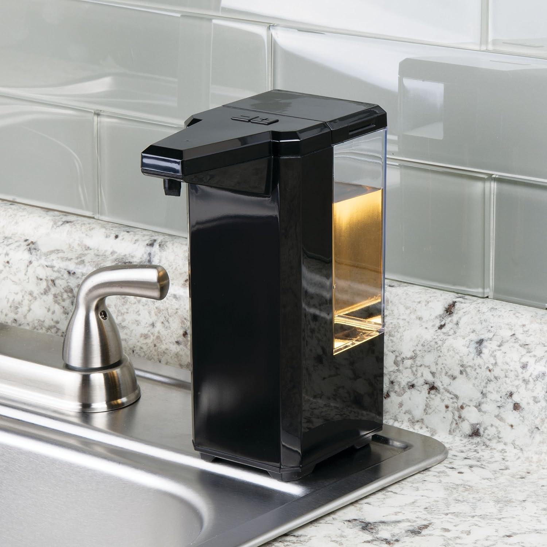 mDesign Dosificador de jabón eléctrico sin contacto - Dispensador automático de plástico con sensor para cocina y baño - Dispensador de líquidos ...