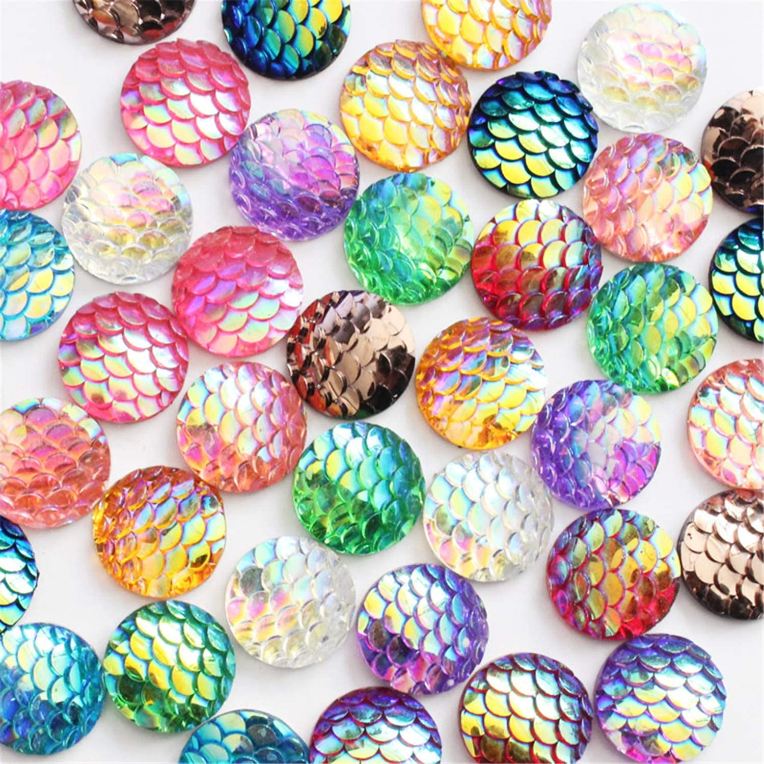 Multi-color Alysee 200 Pieces 10mm Mixed Round Resin Cabochon Flatback Druzy Iridescent Colorful Mermaid Scale Cabochons DIY Accessories