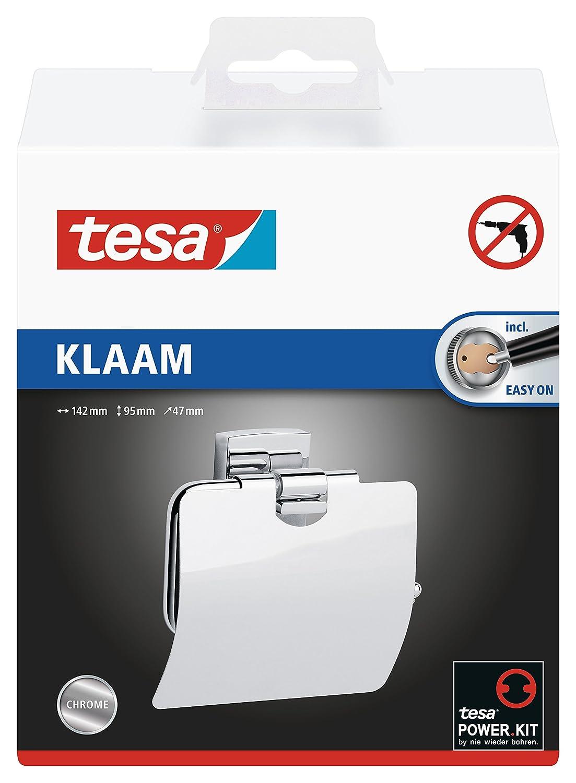 Portarotoli carta igienica tesa Klaam, metallo cromato, autoadesivo, tecnologia di montaggio adesiva, 125mm x 140mm x 53mm 40259-00000-00