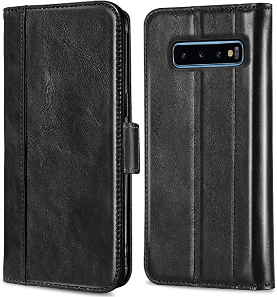 QLTYPRI Case for Samsung Galaxy S10 Plus Premium Soft Leather Wallet Case with Card Holder Kickstand Magnetic Closure Protective Flip Cover for Samsung Galaxy S10 Plus Black