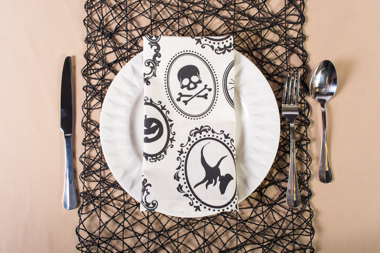 DII Oversized 20x20'' Cotton Napkin, Black & White Halloween Portrait - Perfect for Halloween, Dinner Parties and Scary Movie Nights by DII (Image #10)