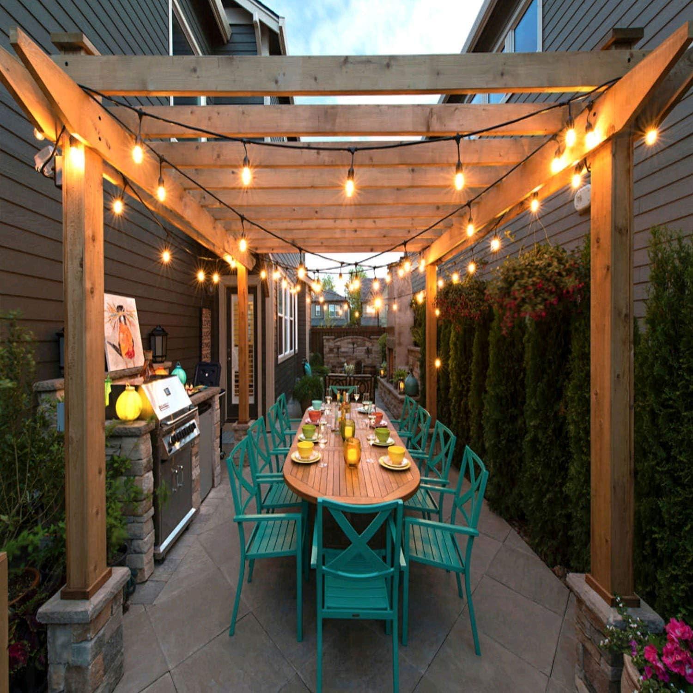 SUPERDANNY - Cadena de luces para exteriores, certificación UL, 48 pies, grado comercial, resistente a la intemperie, con 21 bombillas Edison vintage (3 para respaldo), 25 bridas con cierre para patio, porche,
