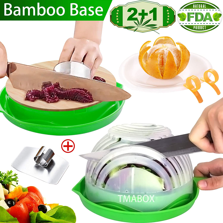 Salad Cutter Bowl,Bamboo Base 2019 Upgraded Chopper Bowl,Quick Salad Fruit Vegetable Salad...