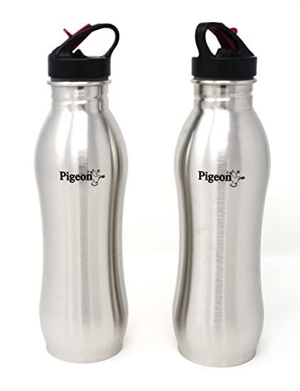 73f2b8aa07 Pigeon By Stovekraft Swig Stainless Steel Water Bottle, 750 ml, Pack of 2,  Silver