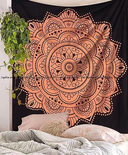 Black Orange Ombre Tapestry Wall Hanging Flower Ombre Bedding, Mandala Tapestry, Multi Color Indian Mandala Wall Art Hippie Wall Hanging Bohemian Bedspread