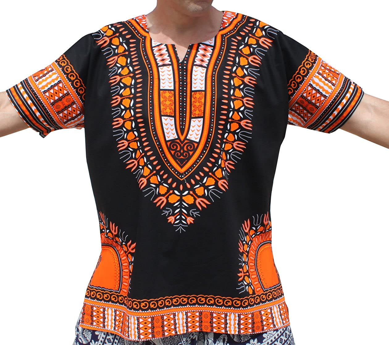 RaanPahMuang Brand Unisex Bright Black Cotton Africa Dashiki Shirt Plain Front