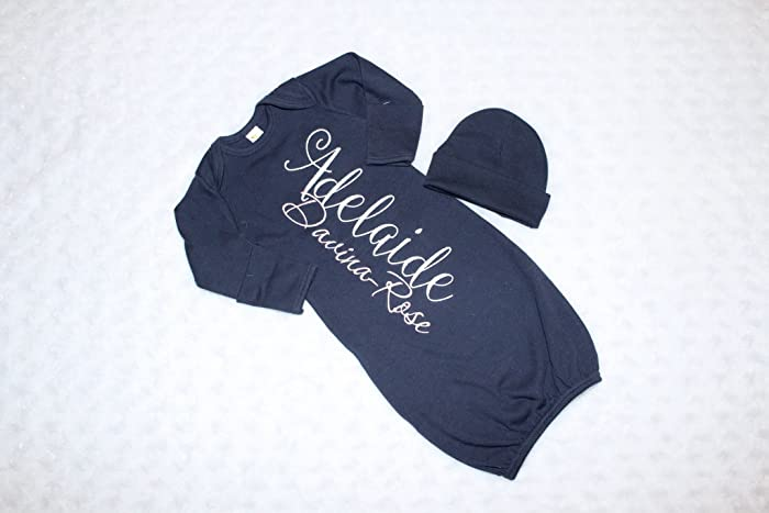 e18968733da8c Amazon.com  New Baby Girl Personalized Gown White and Light Pink on Navy Coming  Home Outfit  Handmade