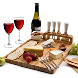"Bamboo Cheese Board and Cutlery set, includes 4 Cheese Knives with White Ceramic Handles, BONUS 4 Stainless Steel Cheese Forks plus Ceramic Bowl, Large Size 14"" x 11"", Unique Design by Organic Cook"