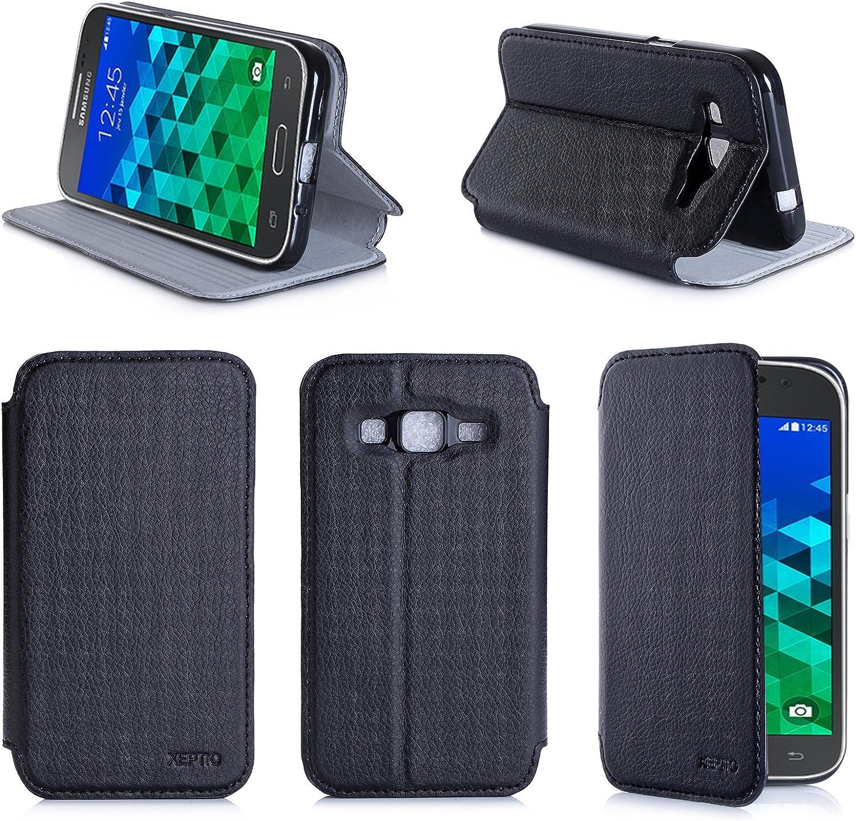 Etui luxe Samsung Galaxy Core Prime SM-G360/SM-G360F/G361F 4G noir / Core Prime VE Value Edition Ultra Slim Cuir Style avec stand - Housse coque de ...