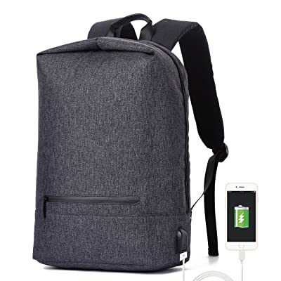 RIONA Laptop Backpack 14.1 Inch Daypack Coded Lock Anti Theft with USB Port/Water Resistant Nylon Briefcase Laptop Bag Tablet for College/Travel/Business/Sports Men&Women (Grey)