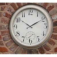 Reloj de pared de metal Jardín Grande Termómetro