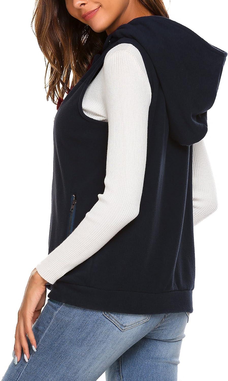 Zeagoo Womens Casual Sleeveless Fleece Oblique Zipper Hoodie Vest with Pockets