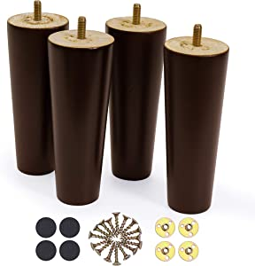 WOODINNO Furniture Legs 6 Inch Replacement for Mid Century Table Dresser, Desk, Couch, Chair Cabinet Sofa | Modern Tapered Round Feet Set of 4 | Raiser Painted Ash Wooden Feets | Dark Brown Color