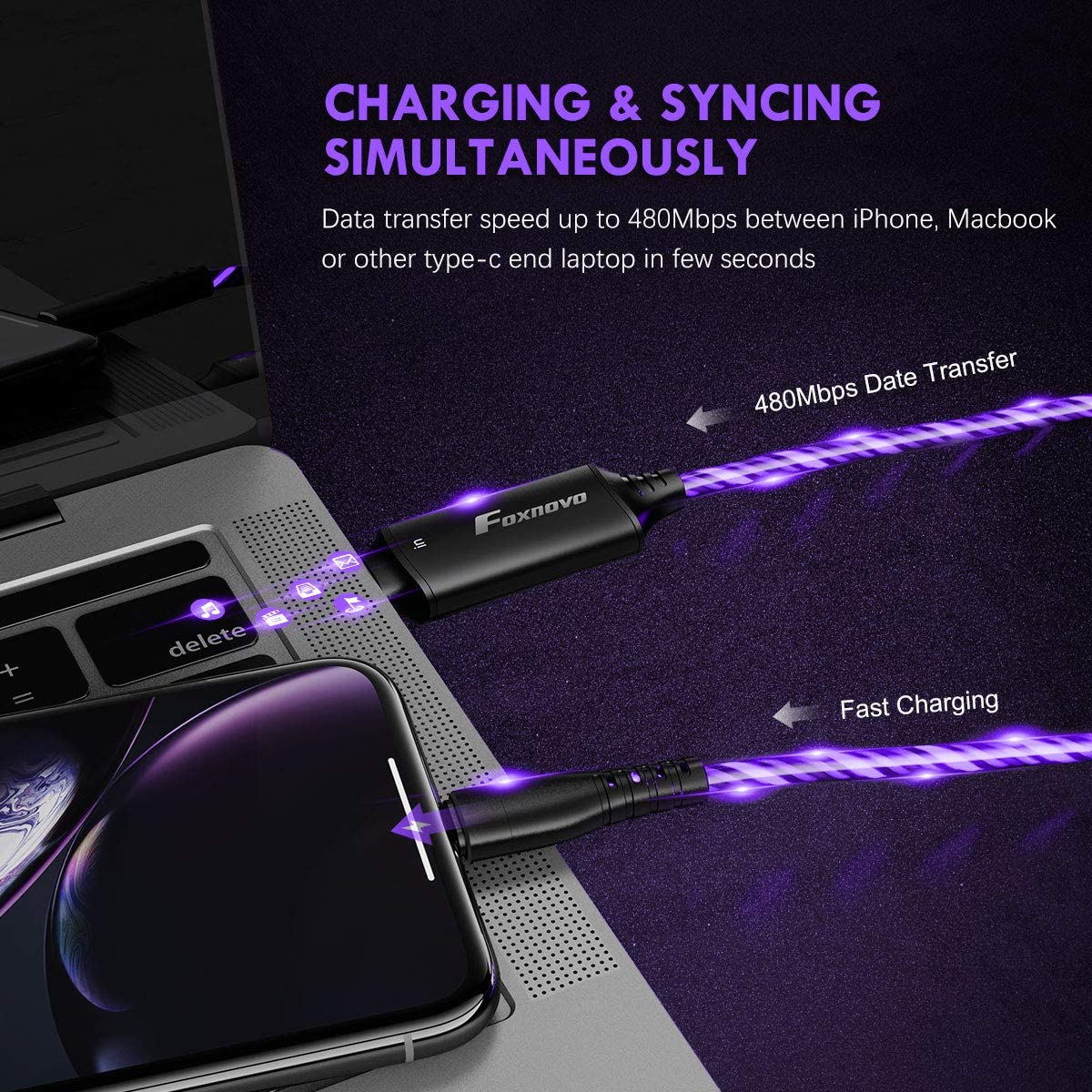 EL Flow Charger Cable Lightning to USB-C Cable, MFi USB C to Lightning Cable Fast Charging (Purple)