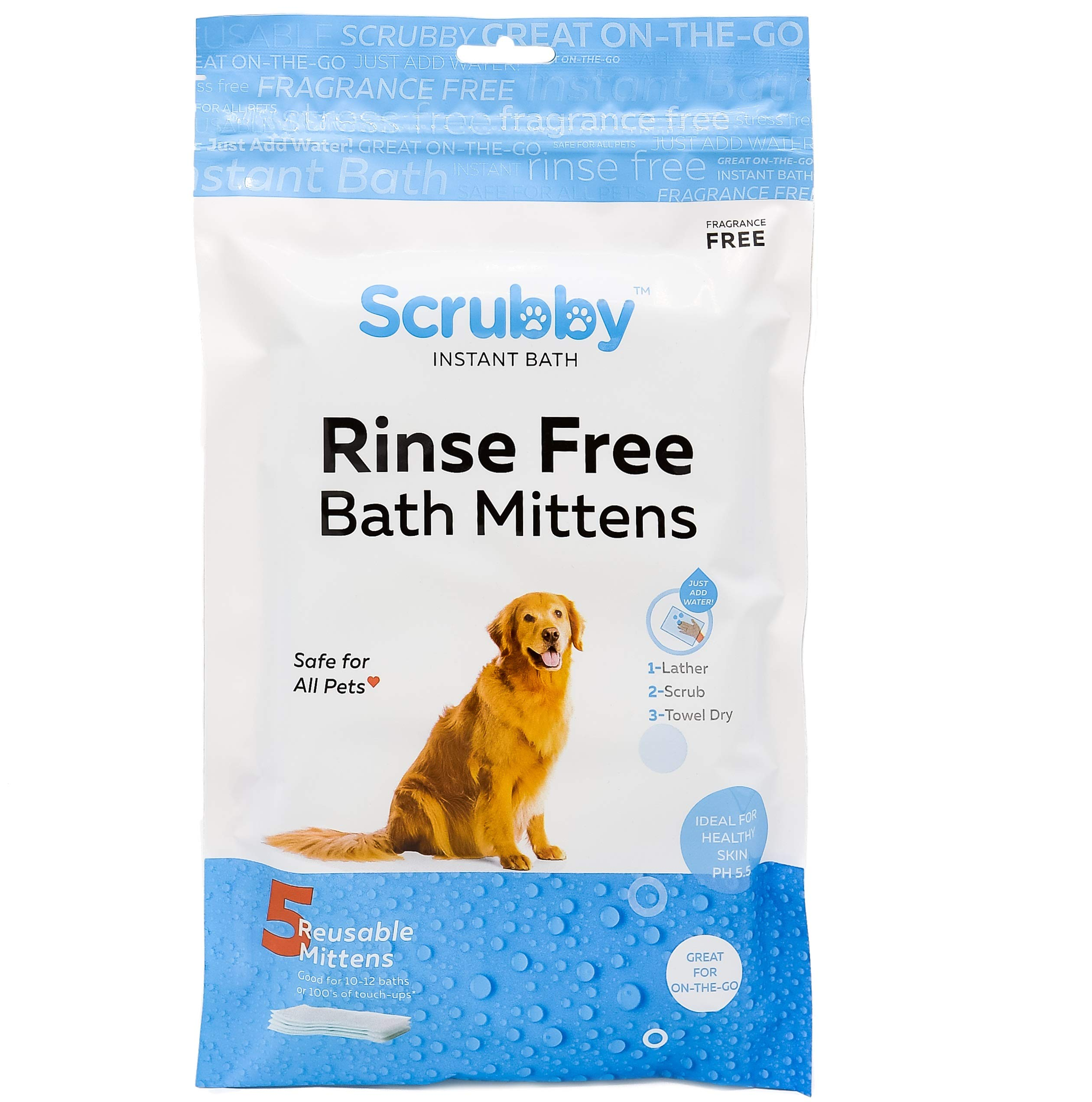 No Rinse Pet Wipes- for Pet Bathing, Pet Grooming, and Pet Washing, Simple to Use ,Just Lather, Wipe, Dry. Excellent for Sensitive Skin. The Ideal Pet Wipes For Bathing Your Pet Dog and Cat (15-Pack) by ScrubbyPet (Image #1)