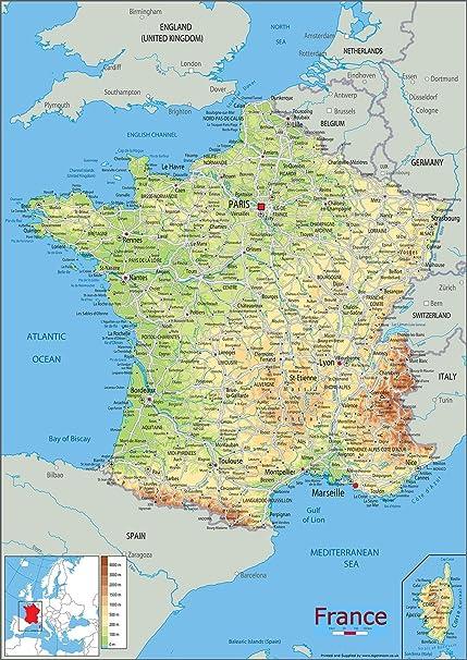 Cartina Francia Fisica In Francese.Francia Mappa Fisica Vinyl 130 X 180 Cm Amazon It Cancelleria E Prodotti Per Ufficio